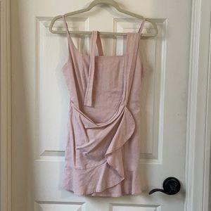 Tie Front Blush Mini Dress